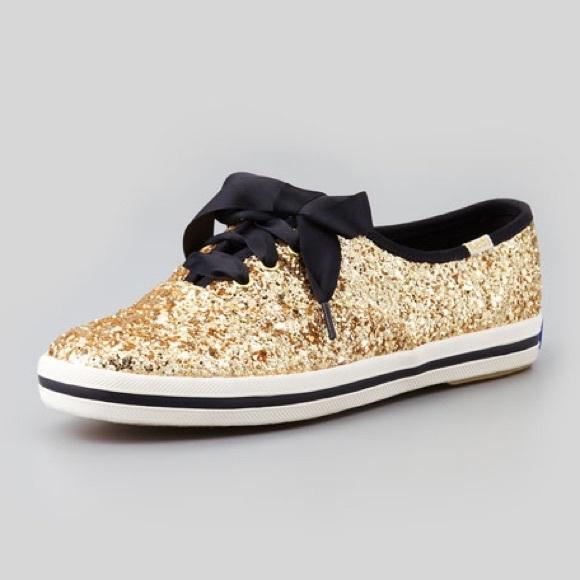 Kate Spade Gold Glitter Keds